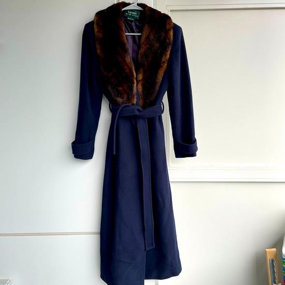 RALPH LAUREN lamb wool navy blue tied long coat